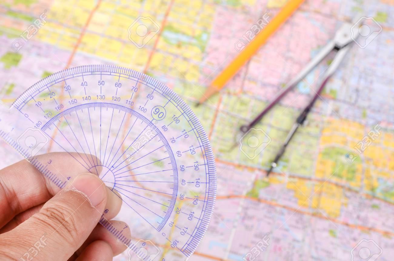Plotting on a map Stock Photo - 12690224