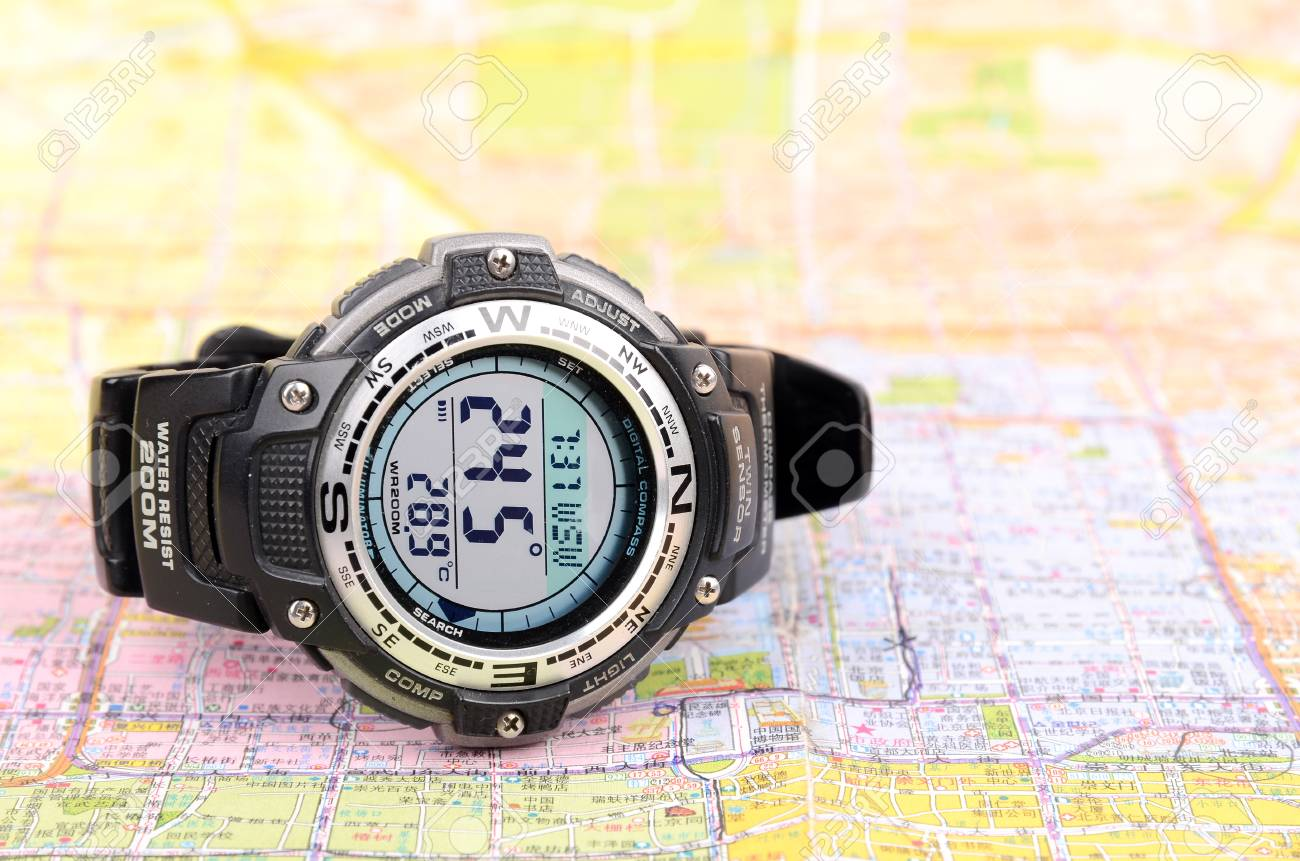 Map and digital compass Stock Photo - 12818326