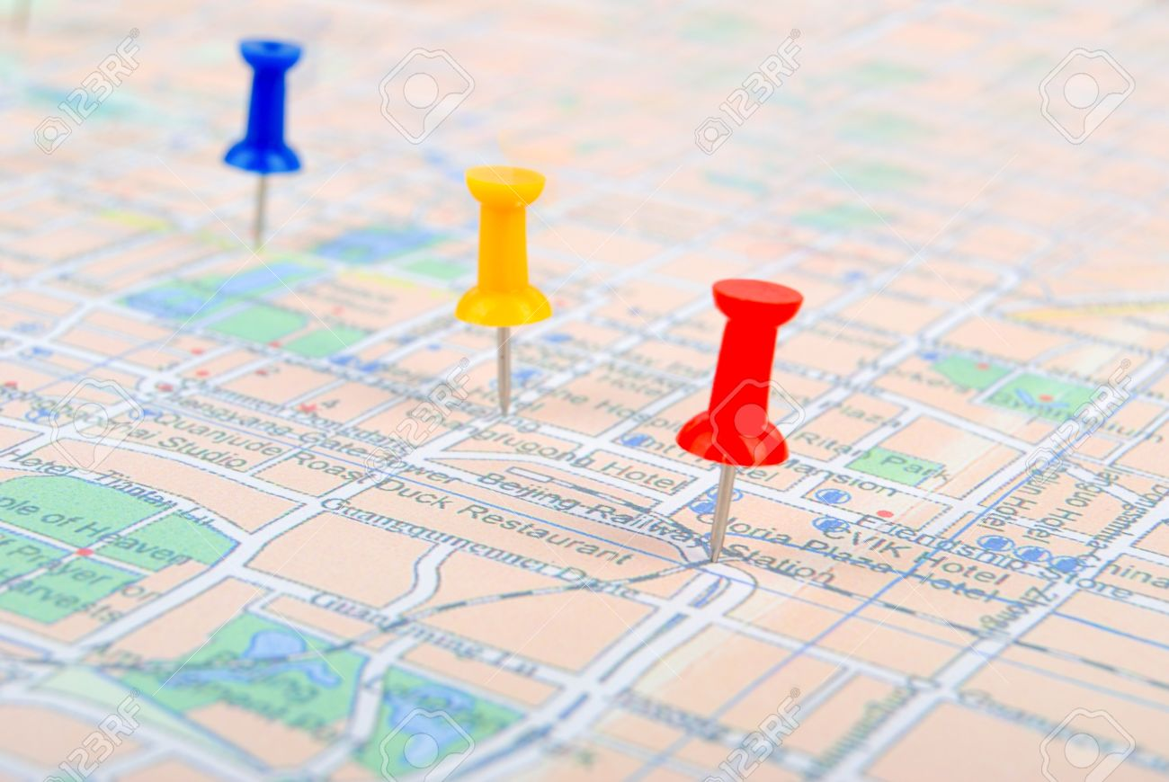 Push Pin And Map Stock Picture And Royalty Free Image