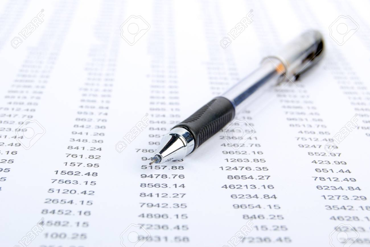 Pen and financial data Stock Photo - 13305293