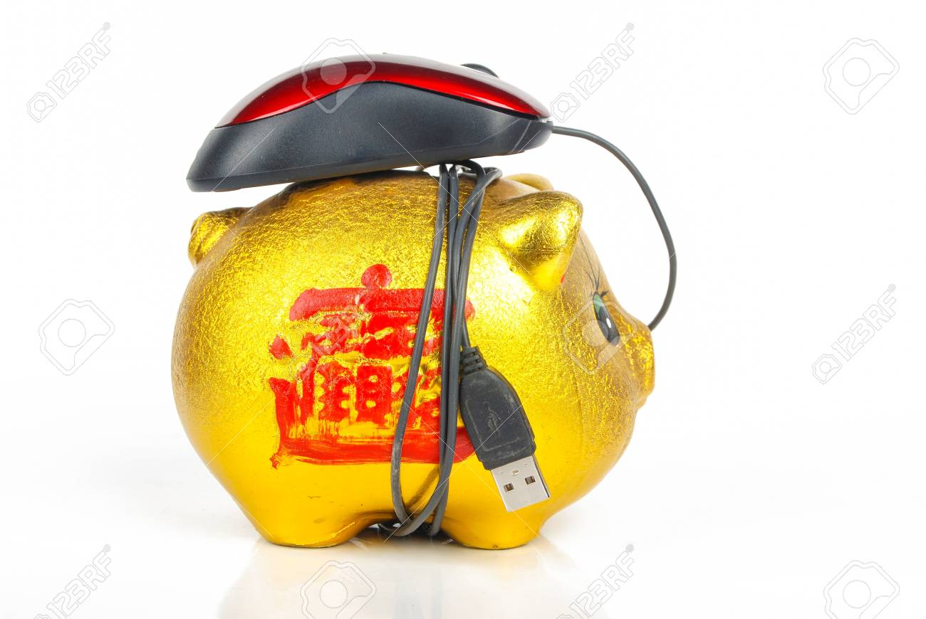 Piggy bank and Computer mouse Stock Photo - 13371581