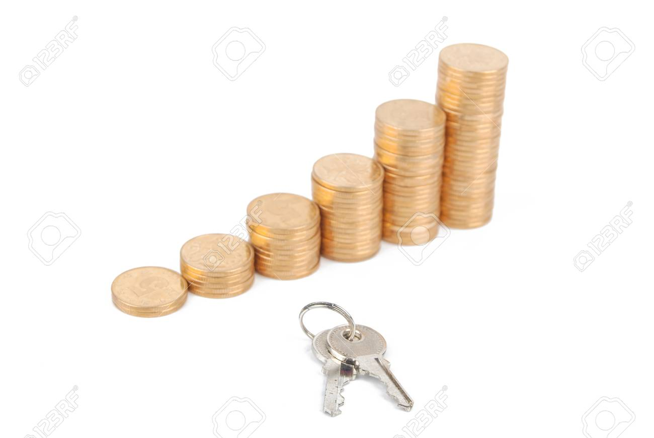 Key and coins Stock Photo - 13497520