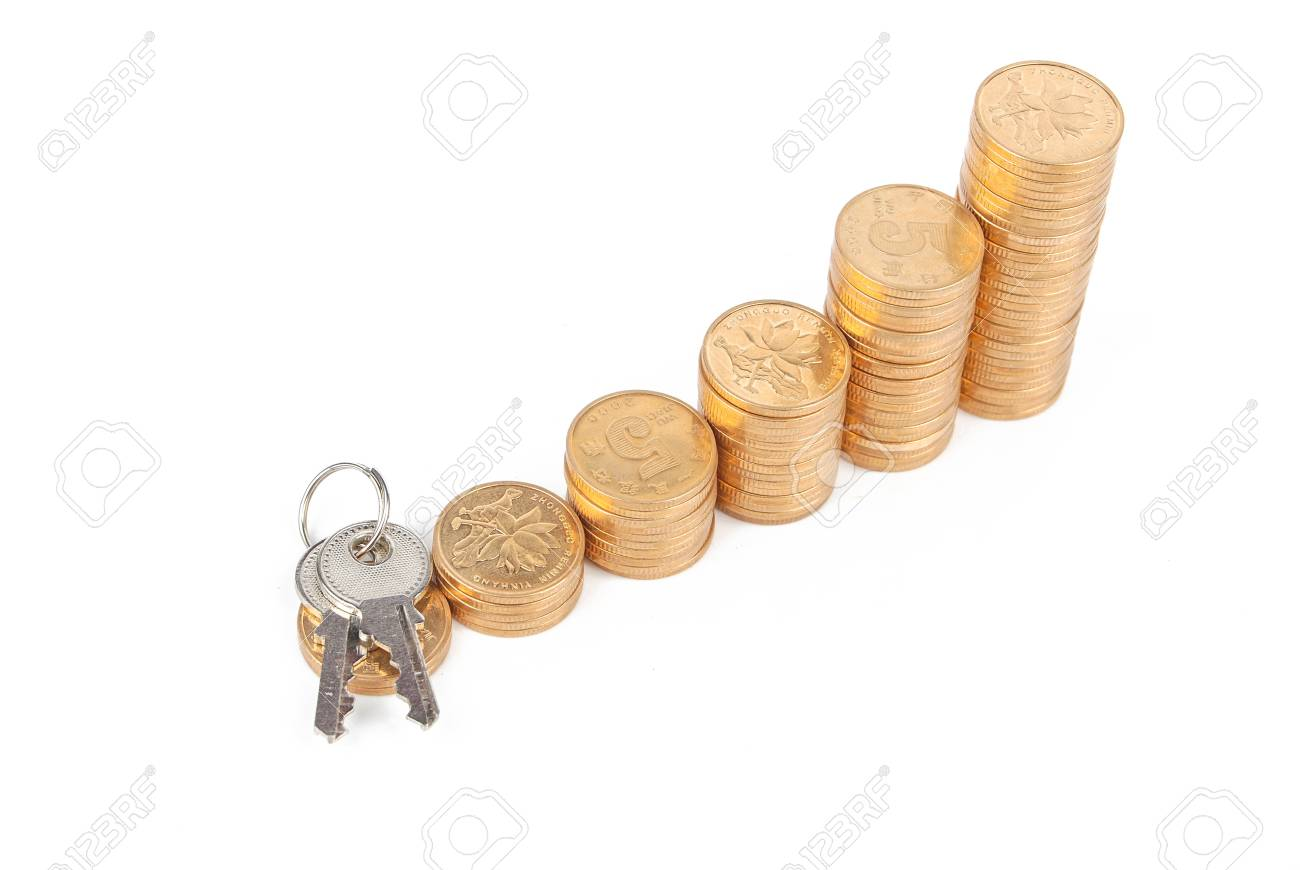 Key and coins Stock Photo - 13497540