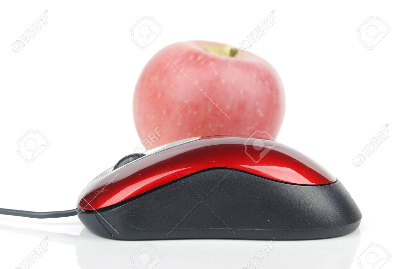 Red computer mouse and apple Stock Photo - 13449619
