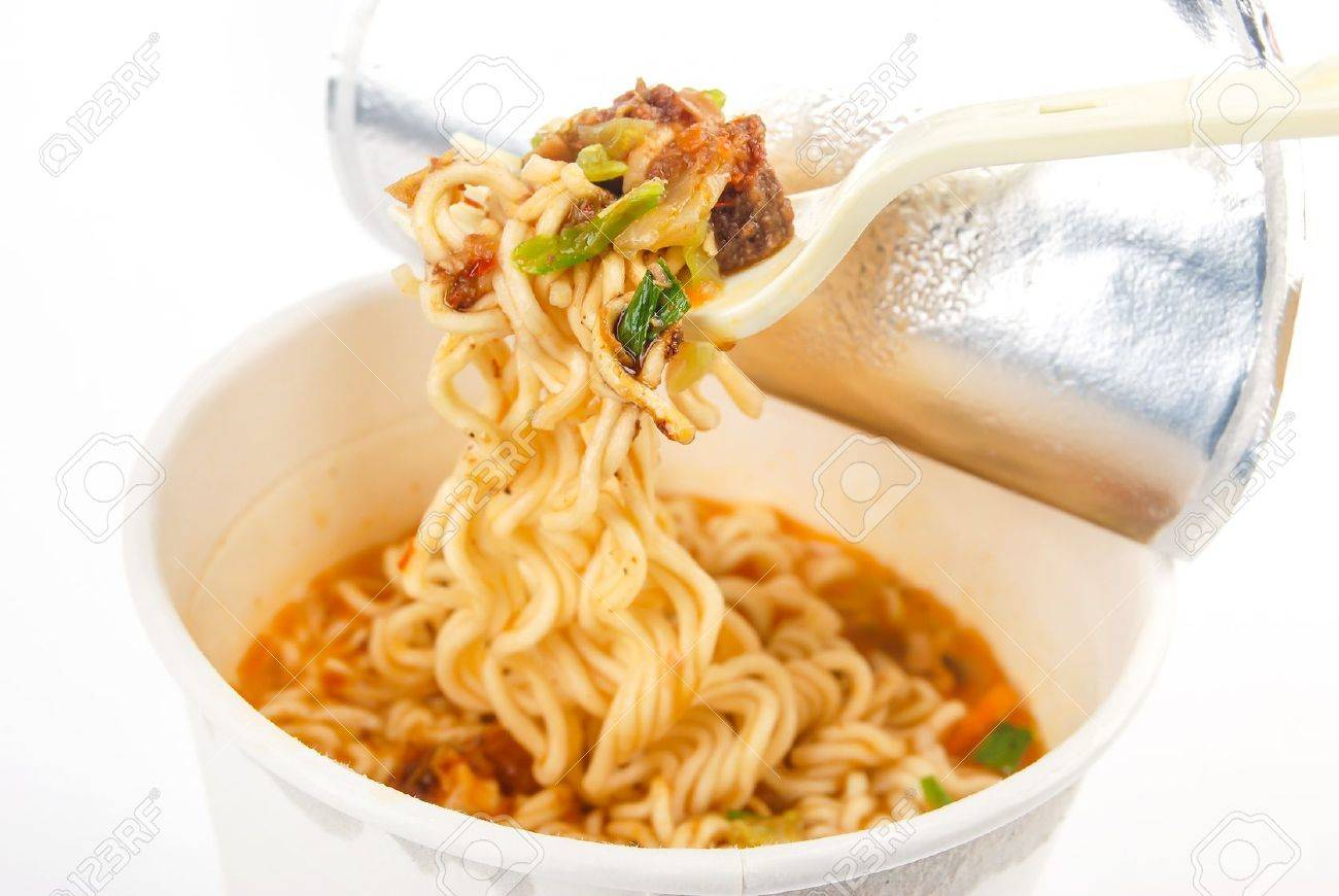 Instant noodles on white background Stock Photo - 13581774