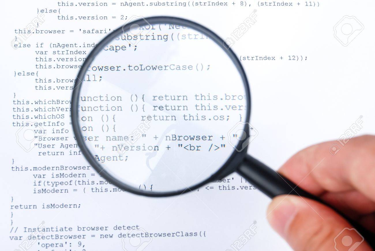 Magnifying glass with html Stock Photo - 13752064