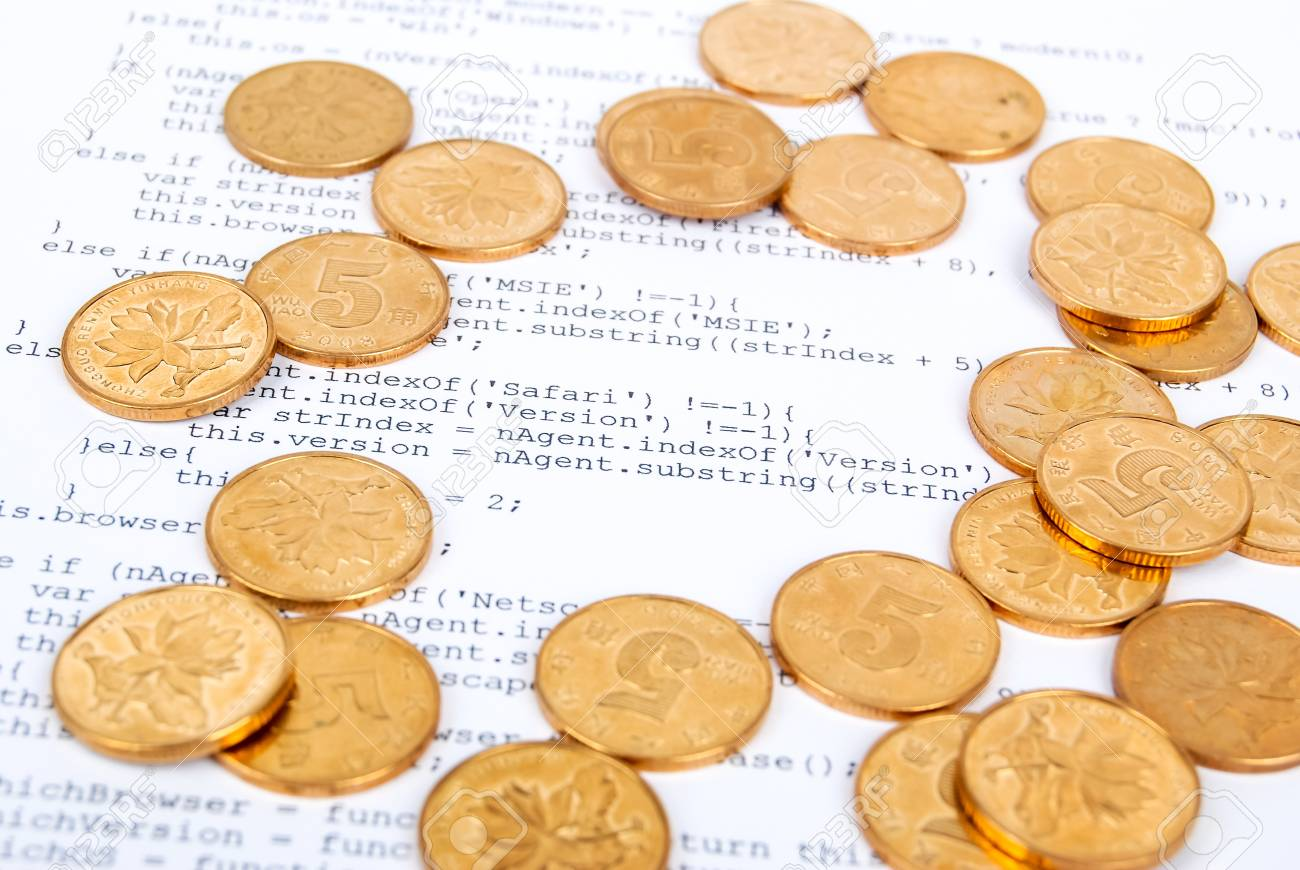 Coins on html page Stock Photo - 13751868