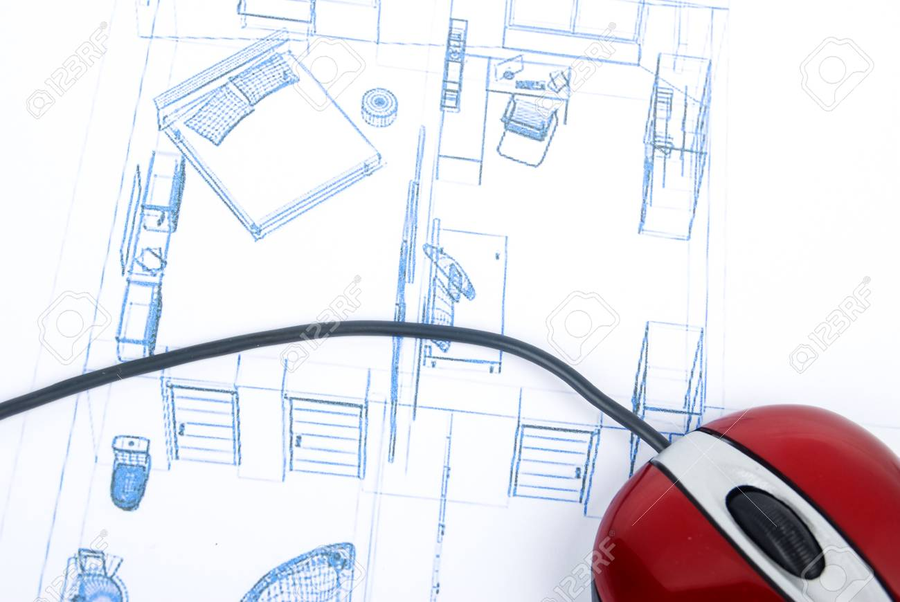 Computer Mouse On Blueprint Stock Photo Picture And Royalty Free Diagram Part In This 13751796