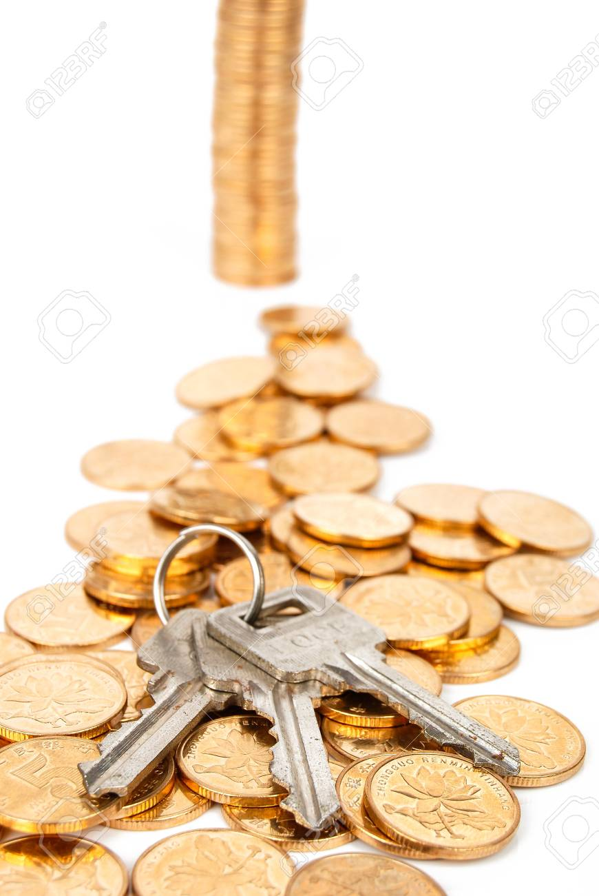 Key and coin Stock Photo - 14047491