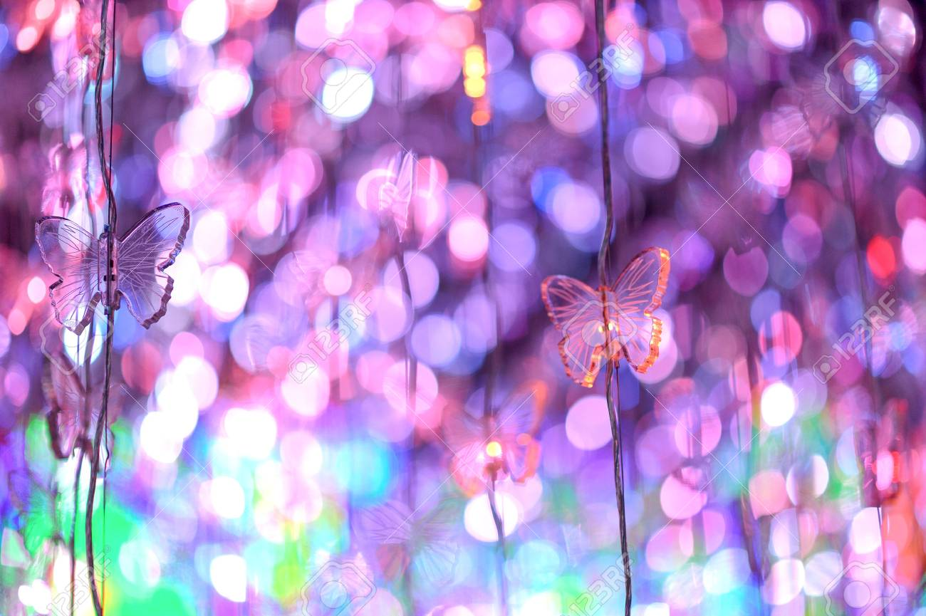 bokeh color full with blue red yellow from bangkok thailand