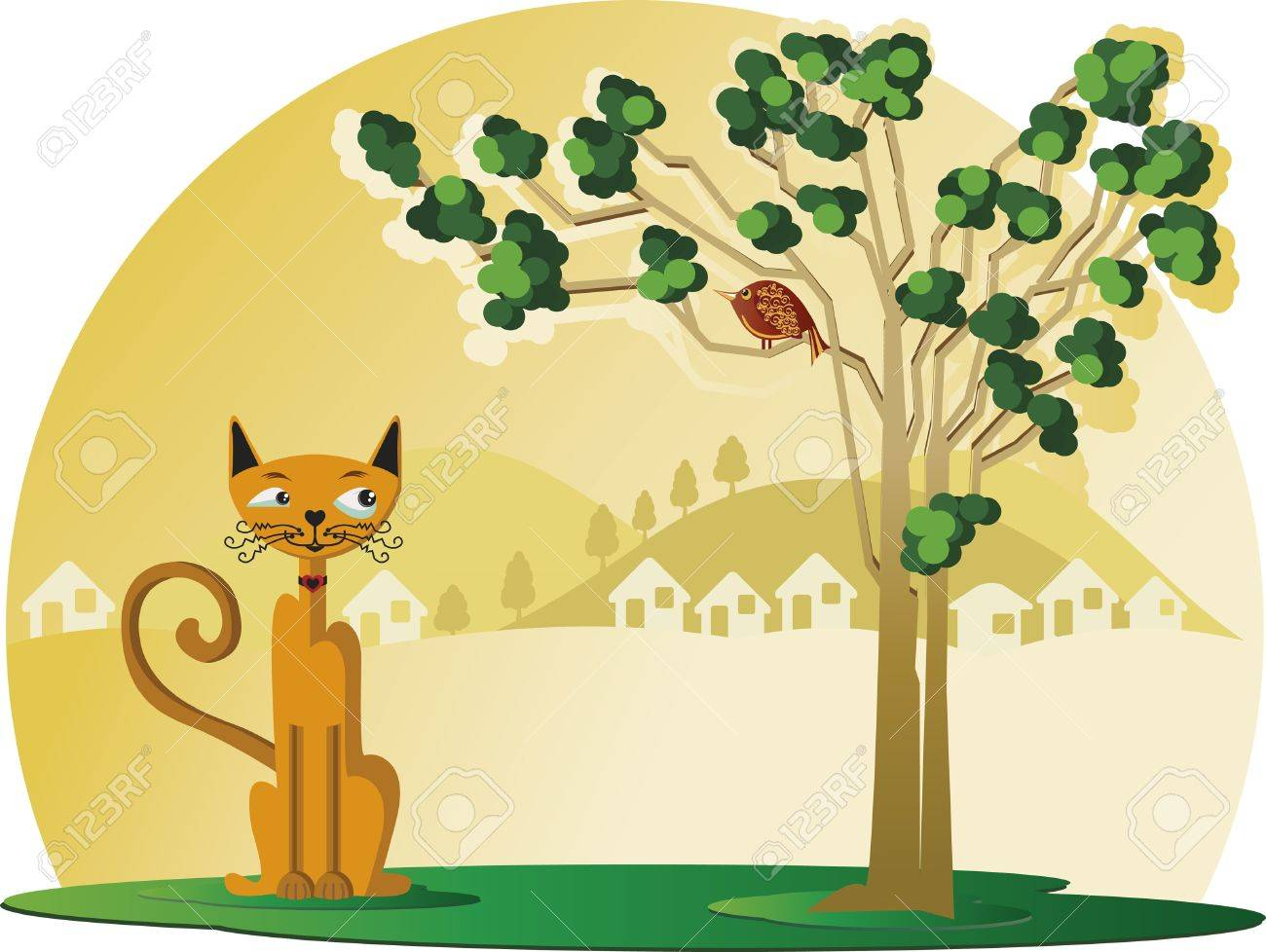 Kitten under a tree and looking at a bird. It's a sunny day.There is a   small city in the background. Stock Vector - 9780443