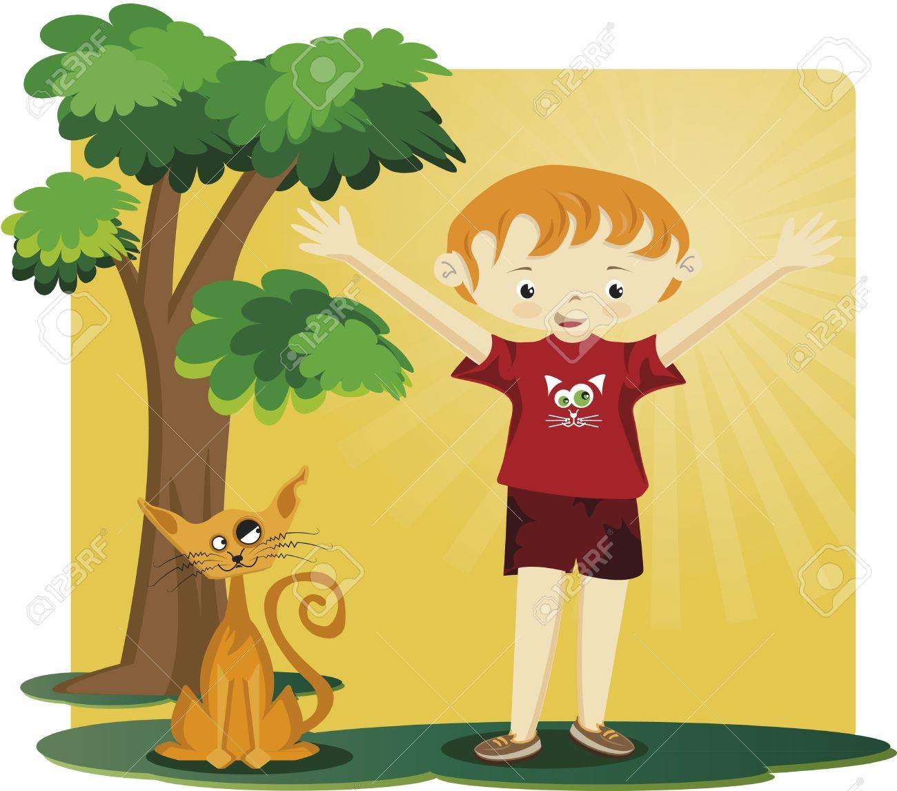 A boy with a kitten. A kitten and a boy with open arms. They are under a tree Stock Vector - 9871485
