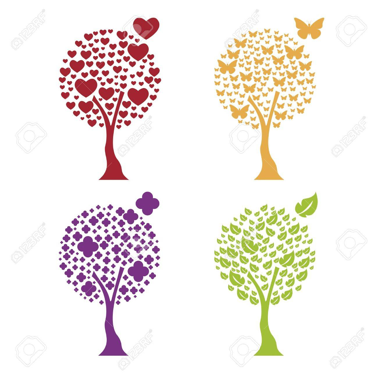 Trees with four elements: heart, butterfly, flower, leaf Stock Vector - 9871529