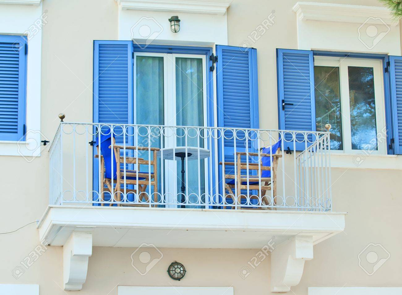 traditional greek blue windows  can be used for background Stock Photo - 11252192