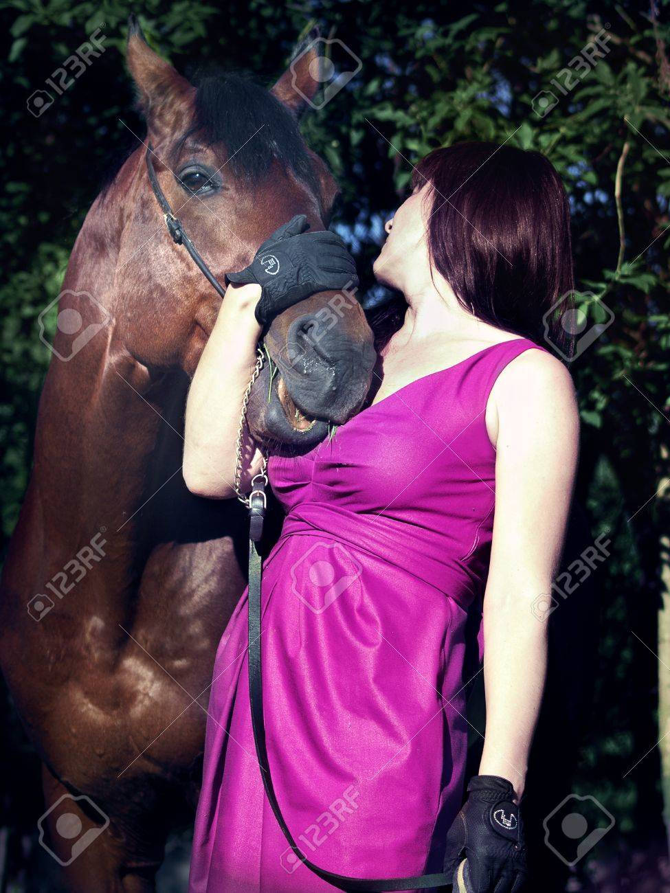Pretty Women With Beautiful Horse Stock Photo Picture And Royalty Free Image Image 12145227