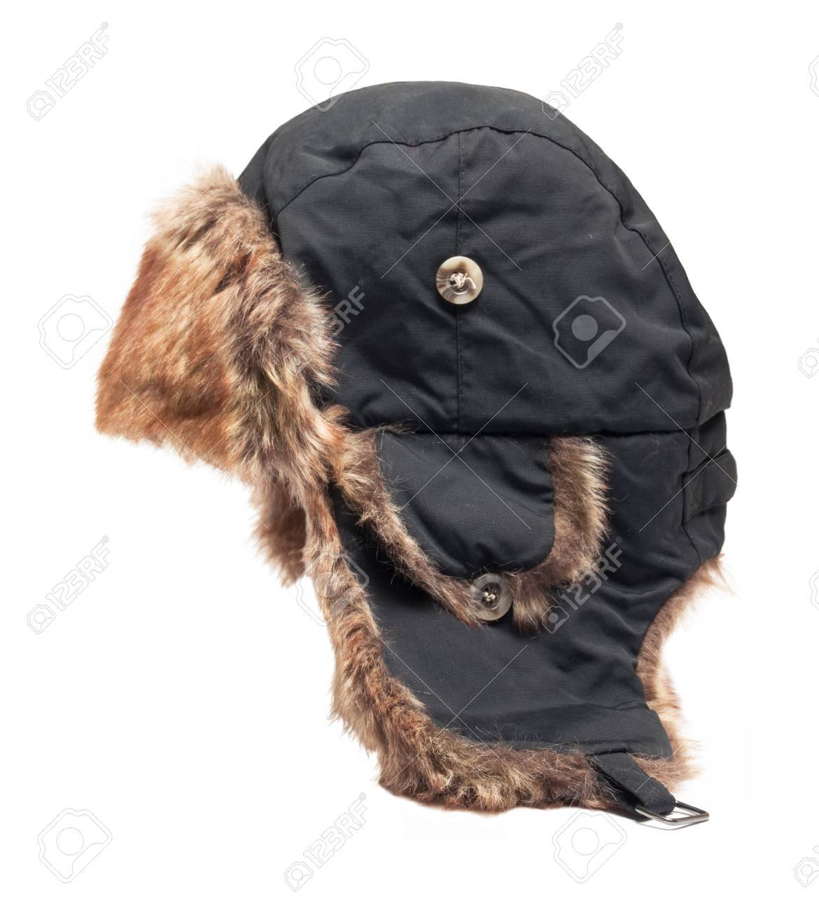 2650704371d hat with ear flaps isolated Stock Photo - 32525412