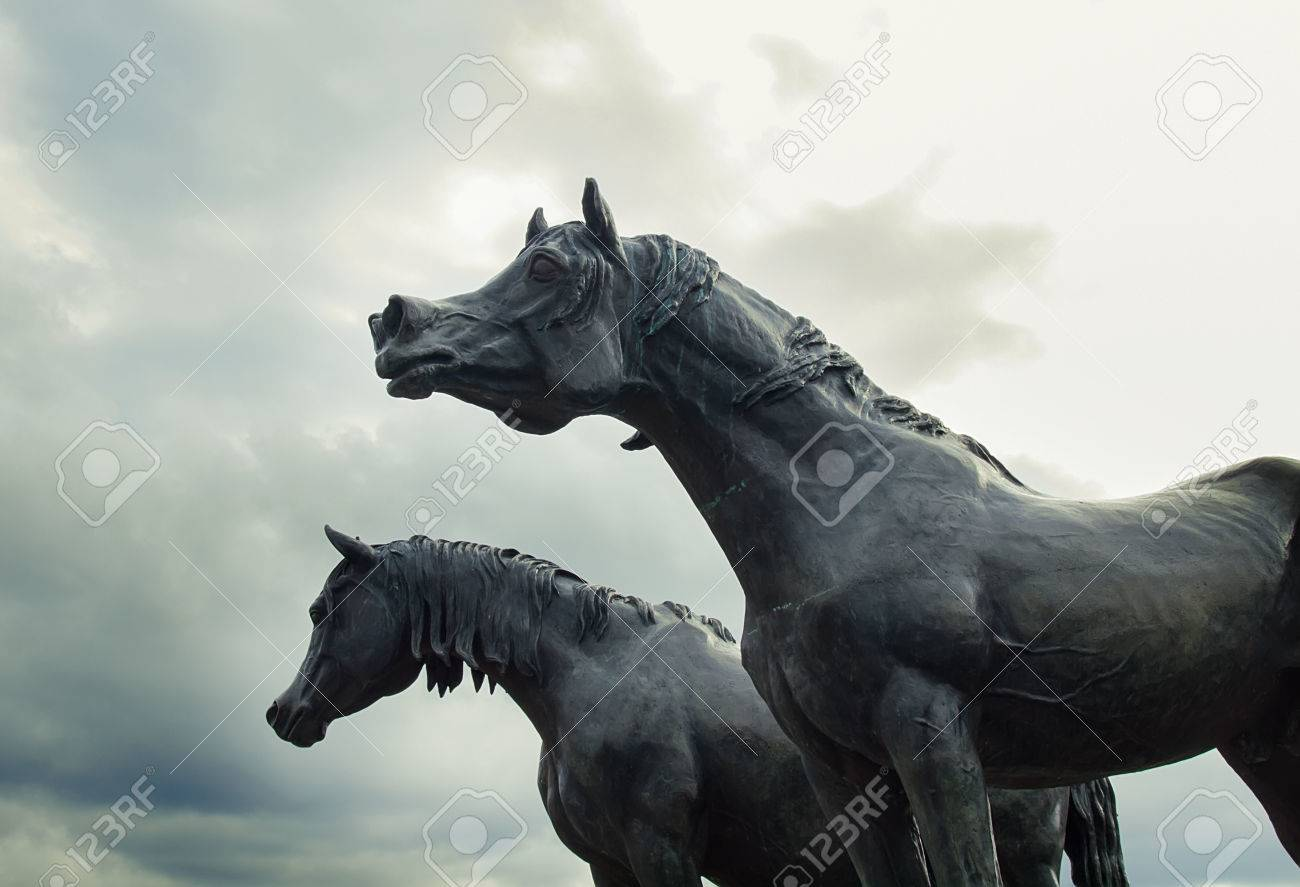 Statues Of Arabian Horse From Metal At Sky Background Stock Photo Picture And Royalty Free Image Image 46736029