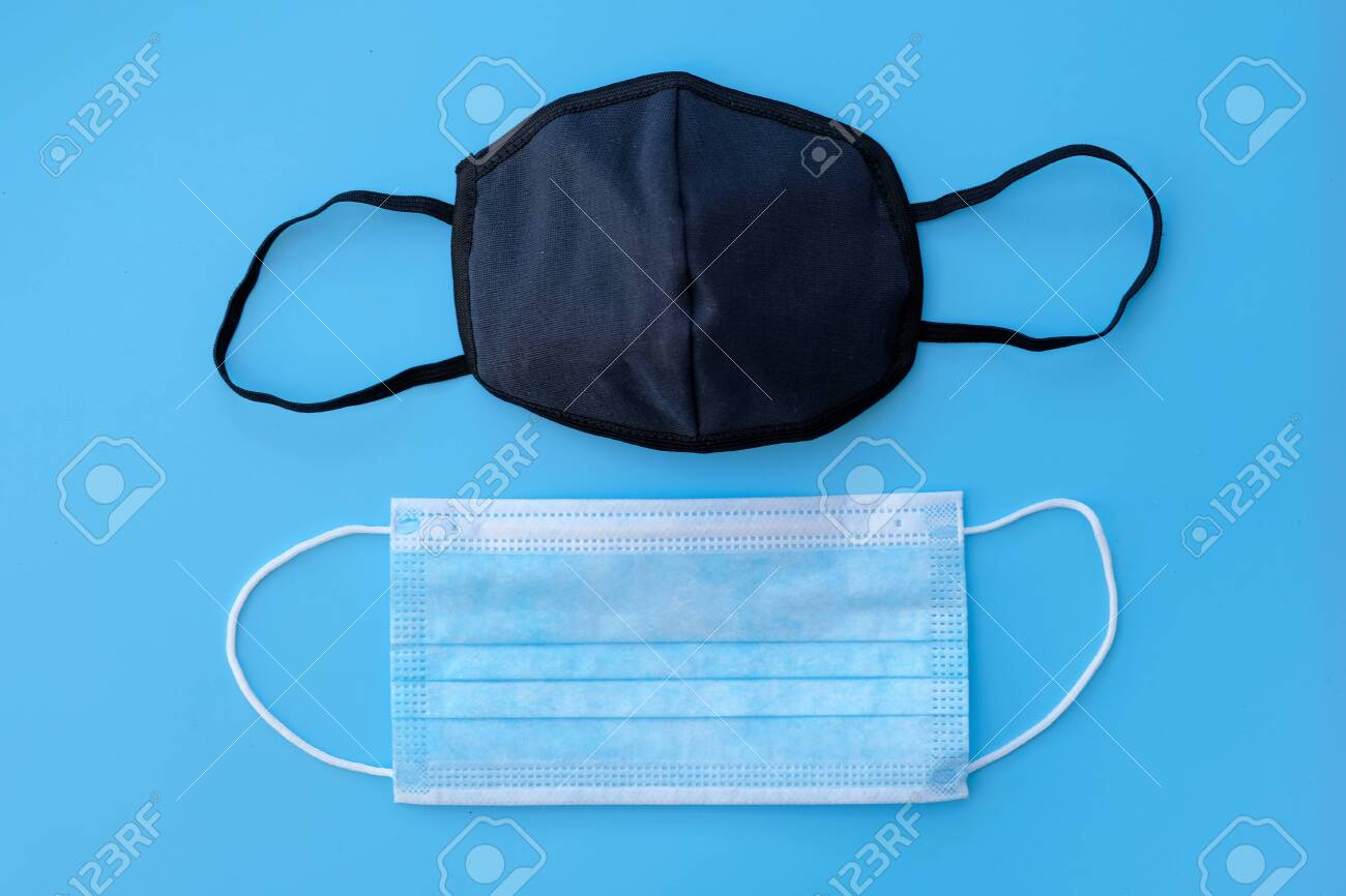 Disposable Blue Medical Mask And Black Fabric Mask With Elastic