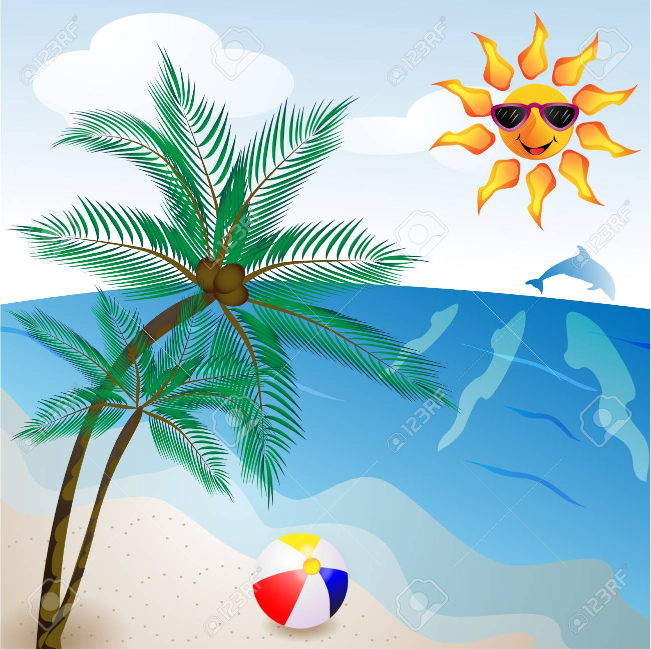 Beach with palm tree Stock Vector - 13701107