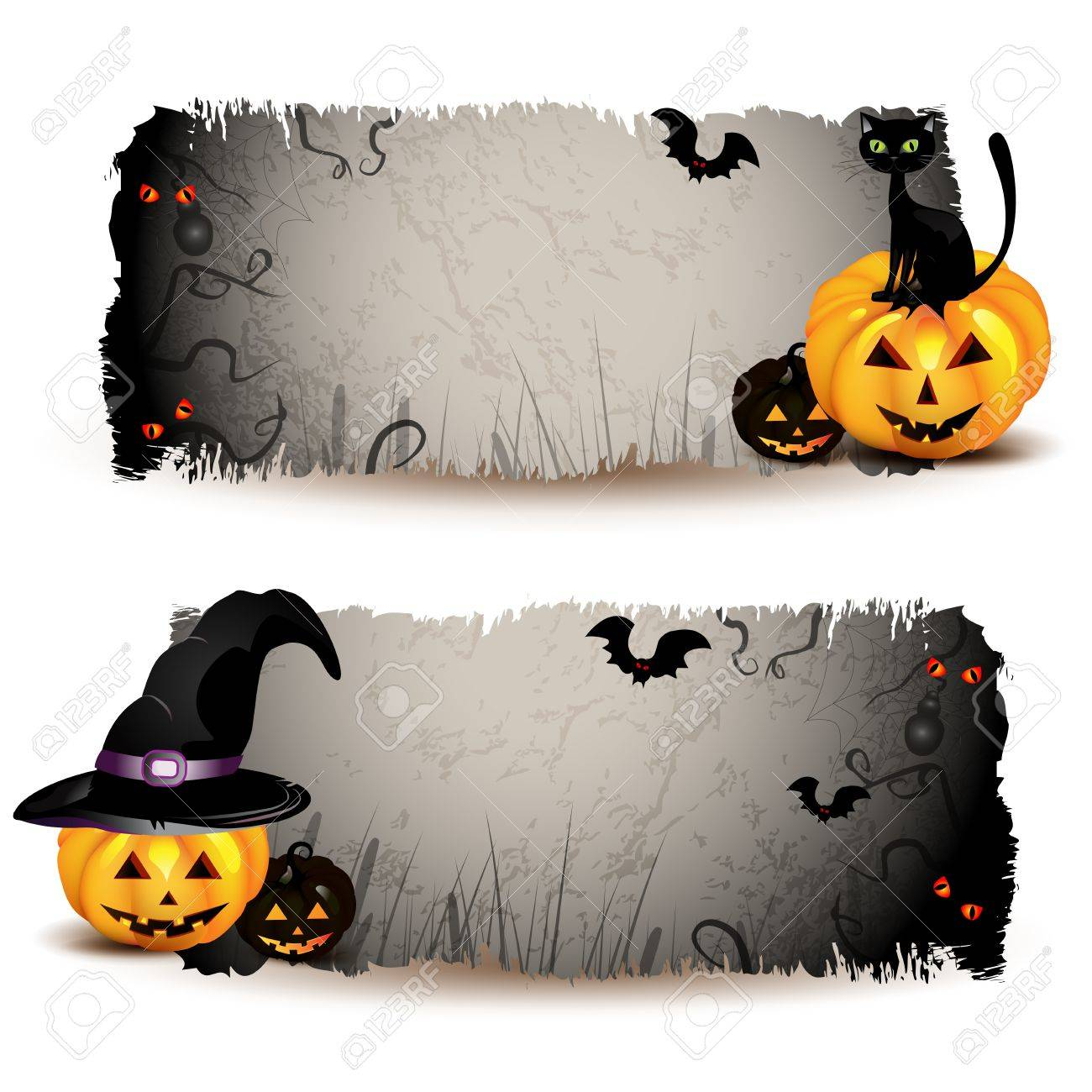 Halloween Banners With Pumpkin Royalty Free Cliparts, Vectors, And ...