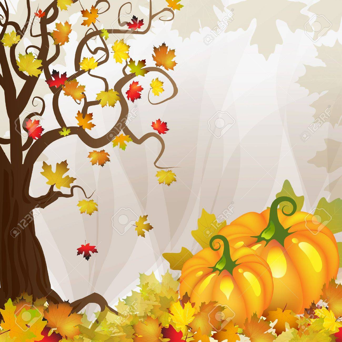 Pumpkin With Tree And Fall Leaves Royalty Free Cliparts Vectors