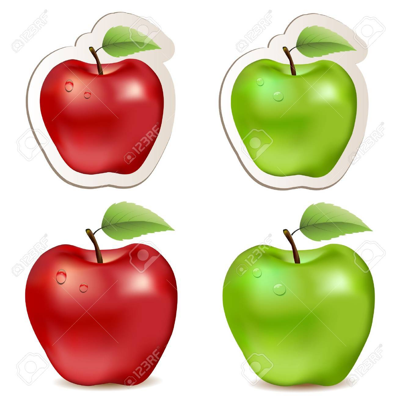 Big shiny red and green apples Stock Vector - 15322708