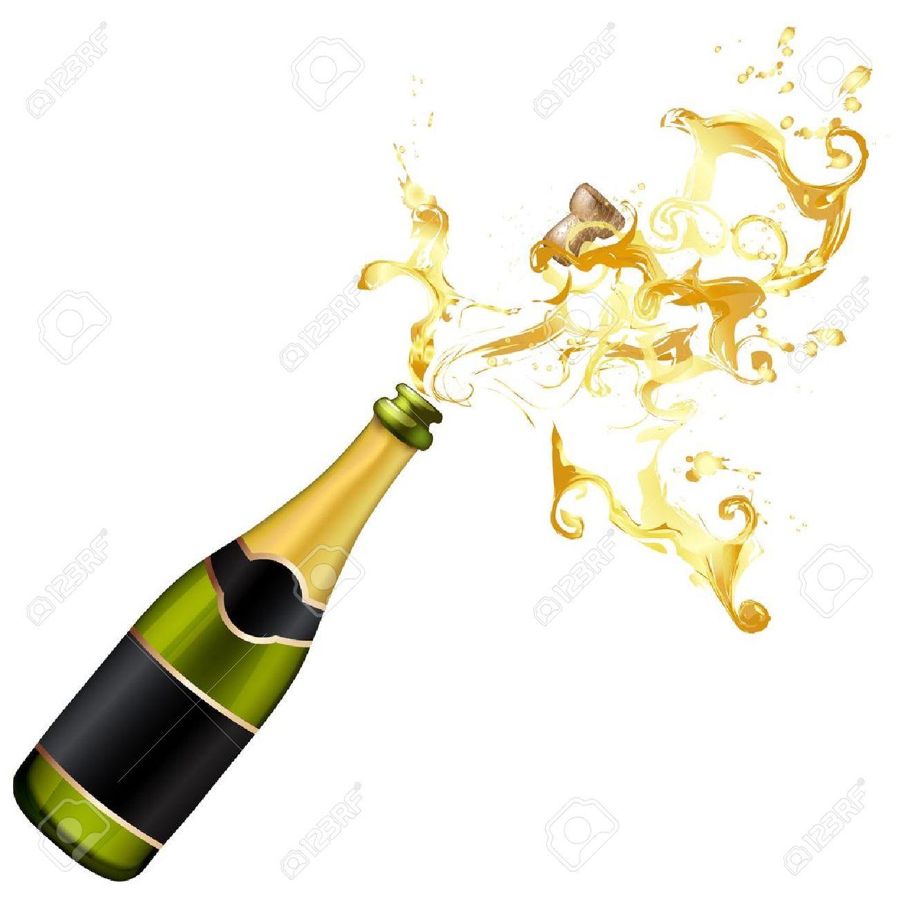 Illustration of explosion of champagne bottle cork Stock Vector - 17043766