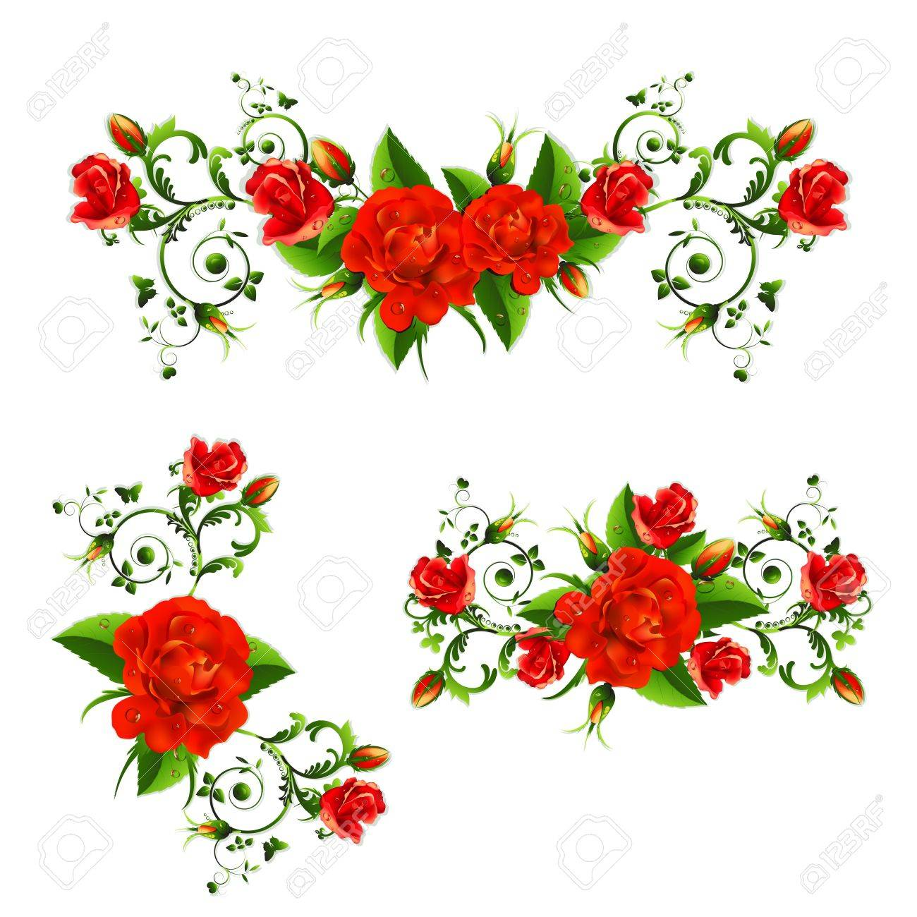 Background with red roses Stock Vector - 20059231