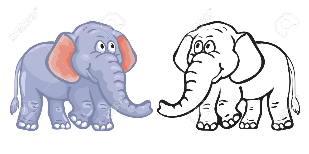 Coloring Book Elephant. Royalty Free Cliparts, Vectors, And Stock ...