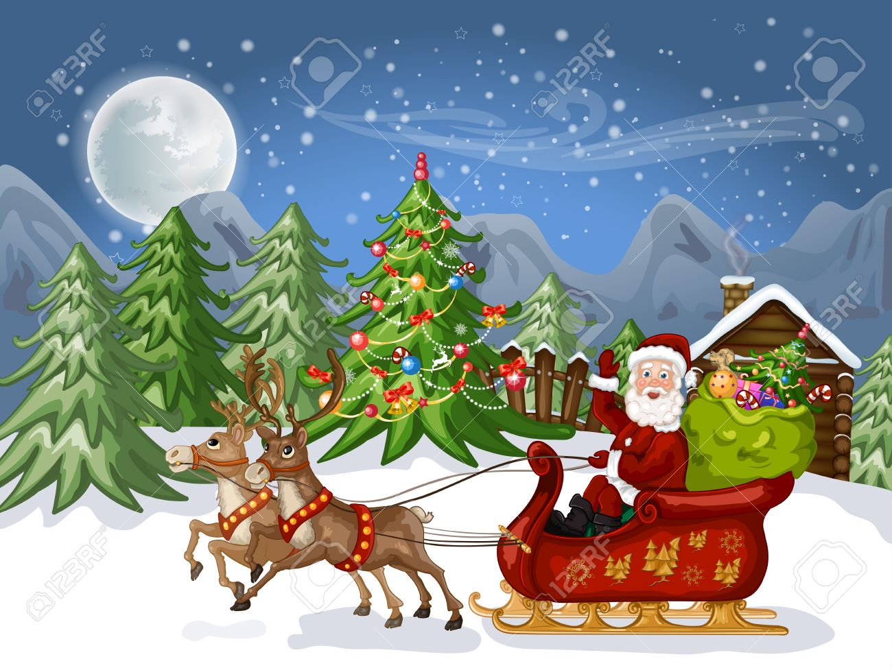 Merry Christmas Card Illustration Of A Funny Cartoon Santa Claus