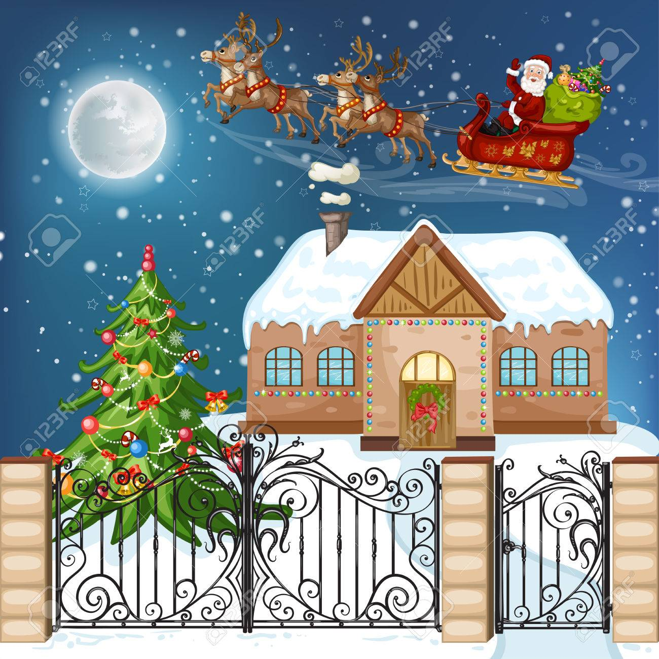 Merry Christmas Card Illustration With Christmas House Christmas Royalty Free Cliparts Vectors And Stock Illustration Image 49131300