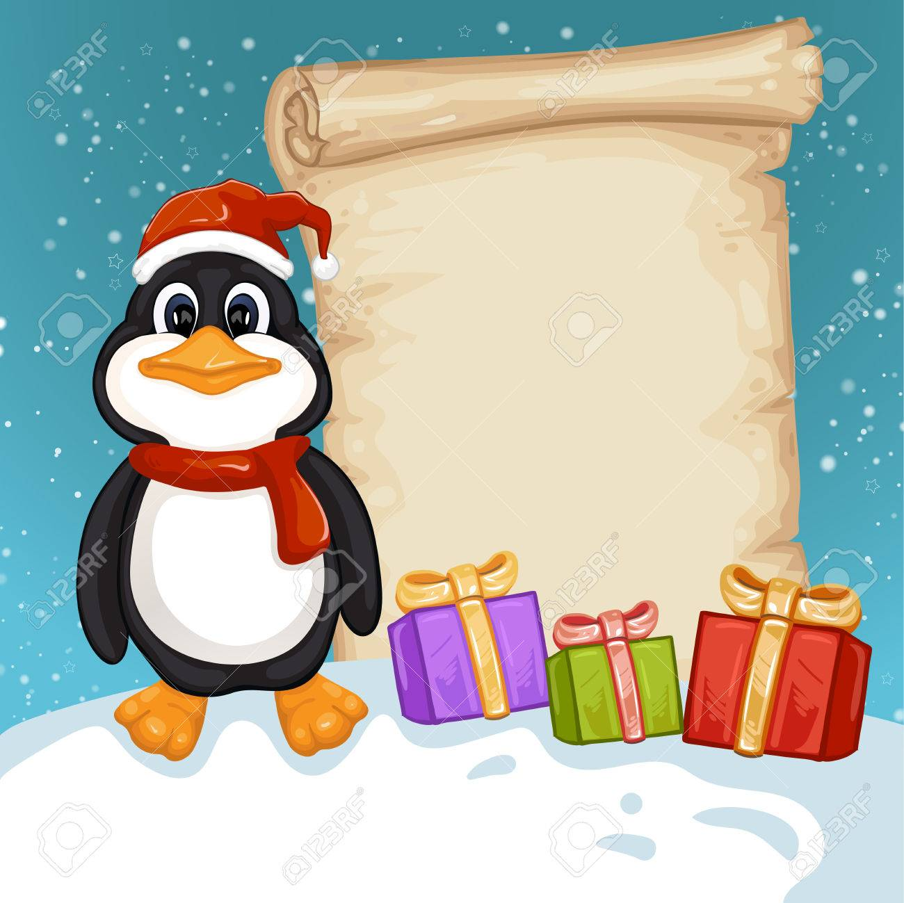 Cute Penguin With Christmas Gifts. Merry Christmas And Happy ...