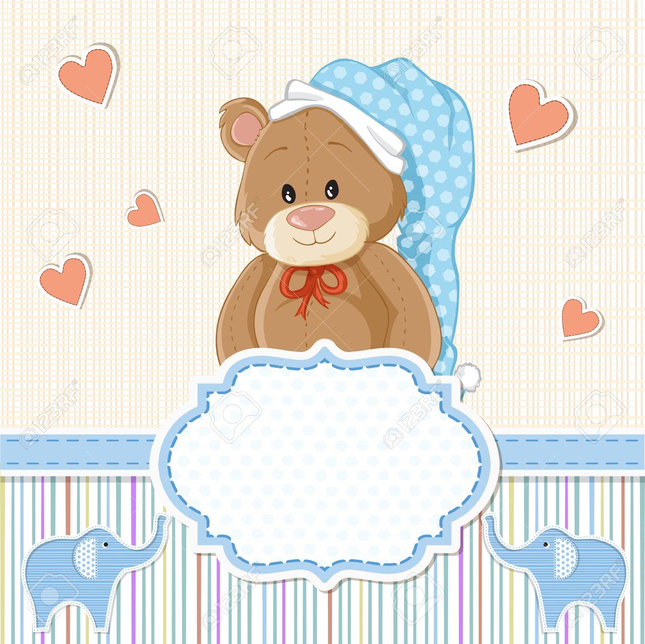 Teddy Bear For Baby Boy Baby Shower Invitation