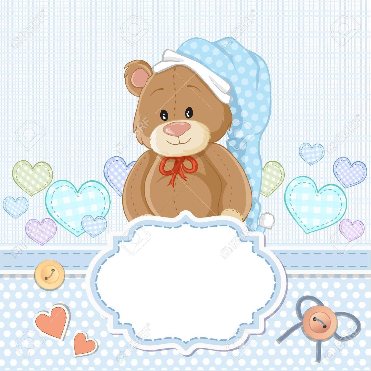 Teddy bear for baby boy . Baby shower invitation - 52741141