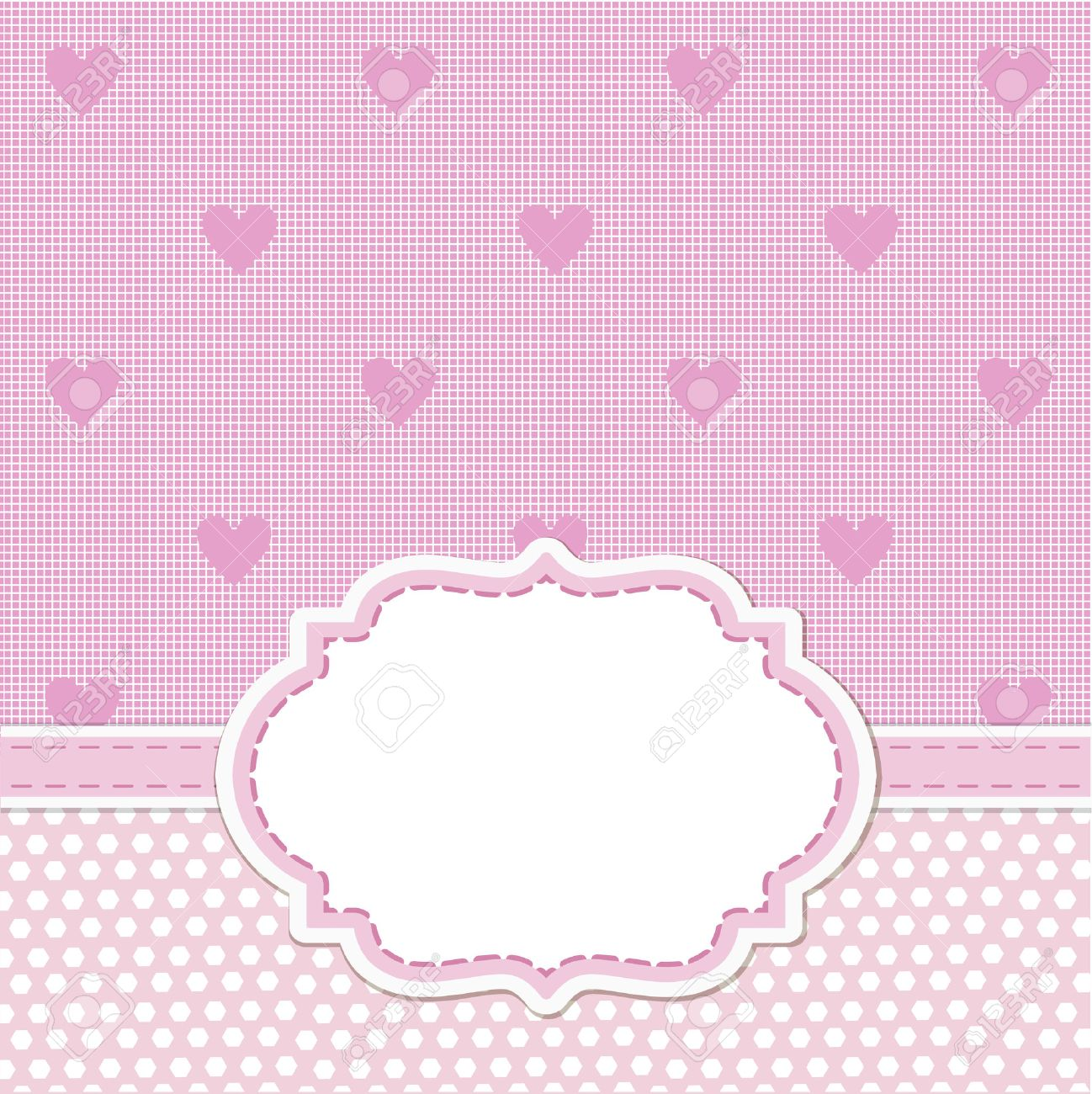 Pink Card Invitation For Baby Shower Wedding Or Birthday Party Royalty Free Cliparts Vectors And Stock Illustration Image 52741140