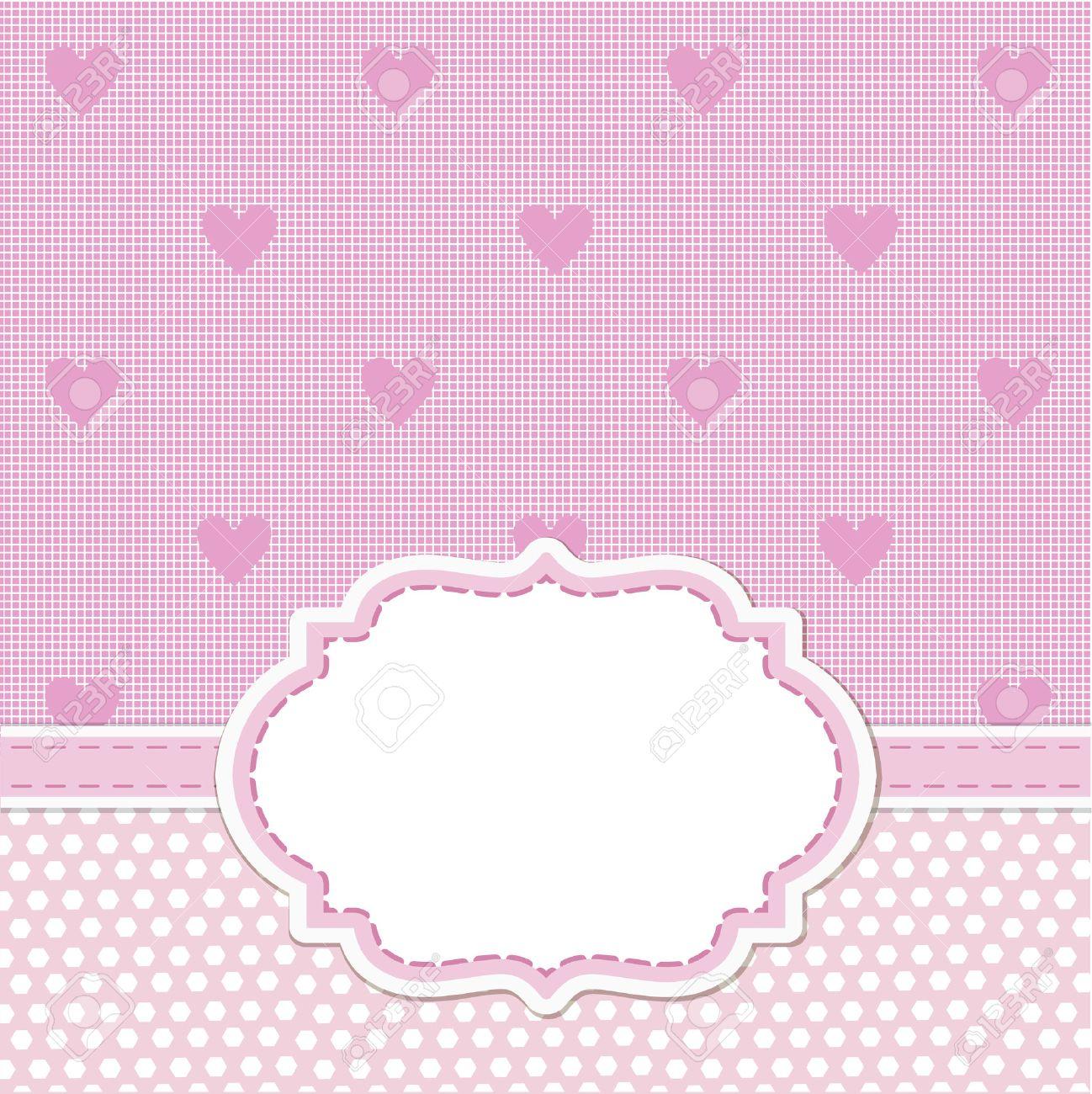 Rosa Karte Einladung Für Babyparty, Hochzeit Oder Geburtstagsfeier Mit  Weißen Streifen. Netter Hintergrund Mit