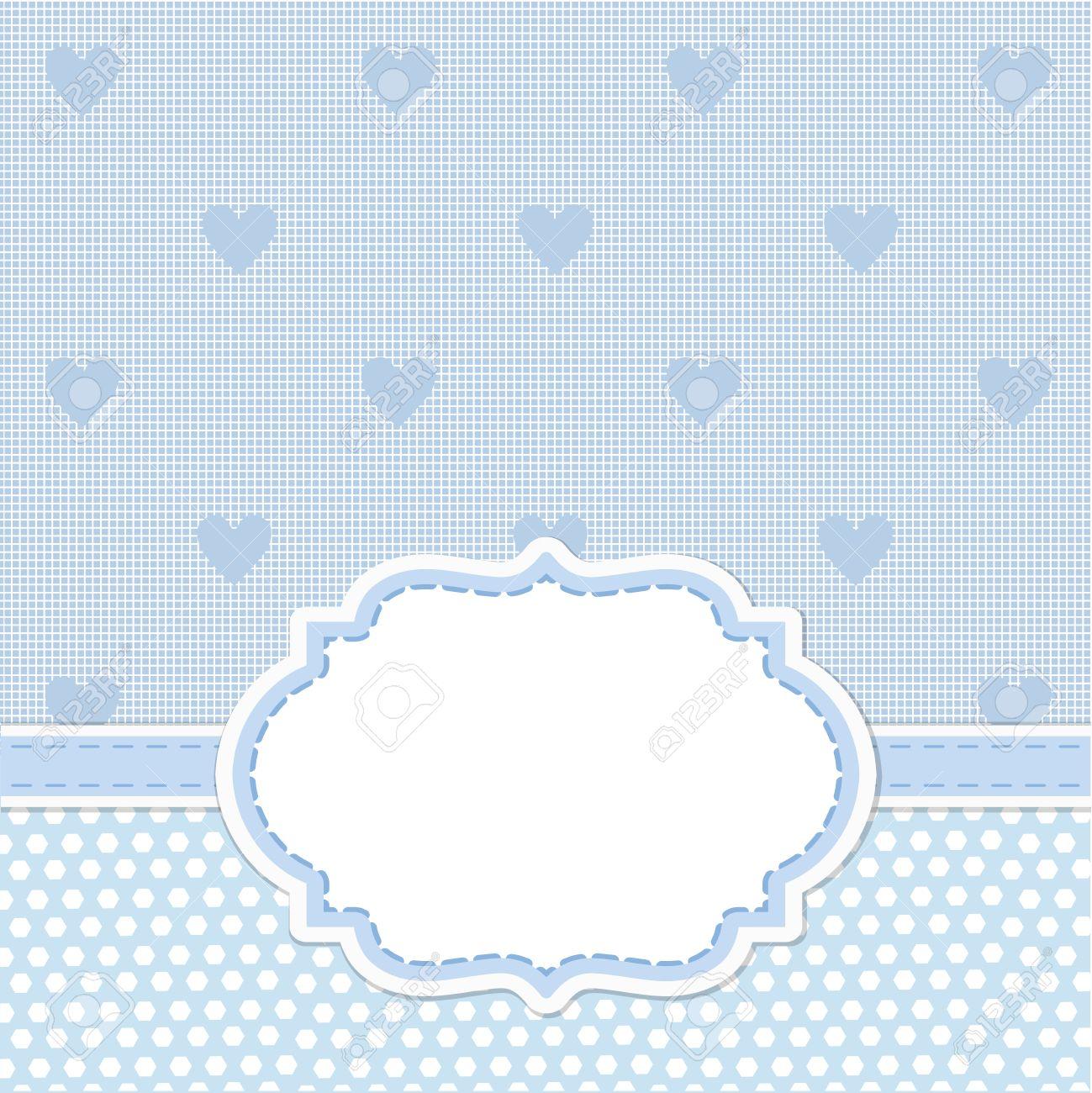 Invitación De La Tarjeta Azul Para Baby Shower Boda O Fiesta De Cumpleaños Con Rayas Blancas De Fondo Linda Con El Espacio En Blanco Para Poner Su