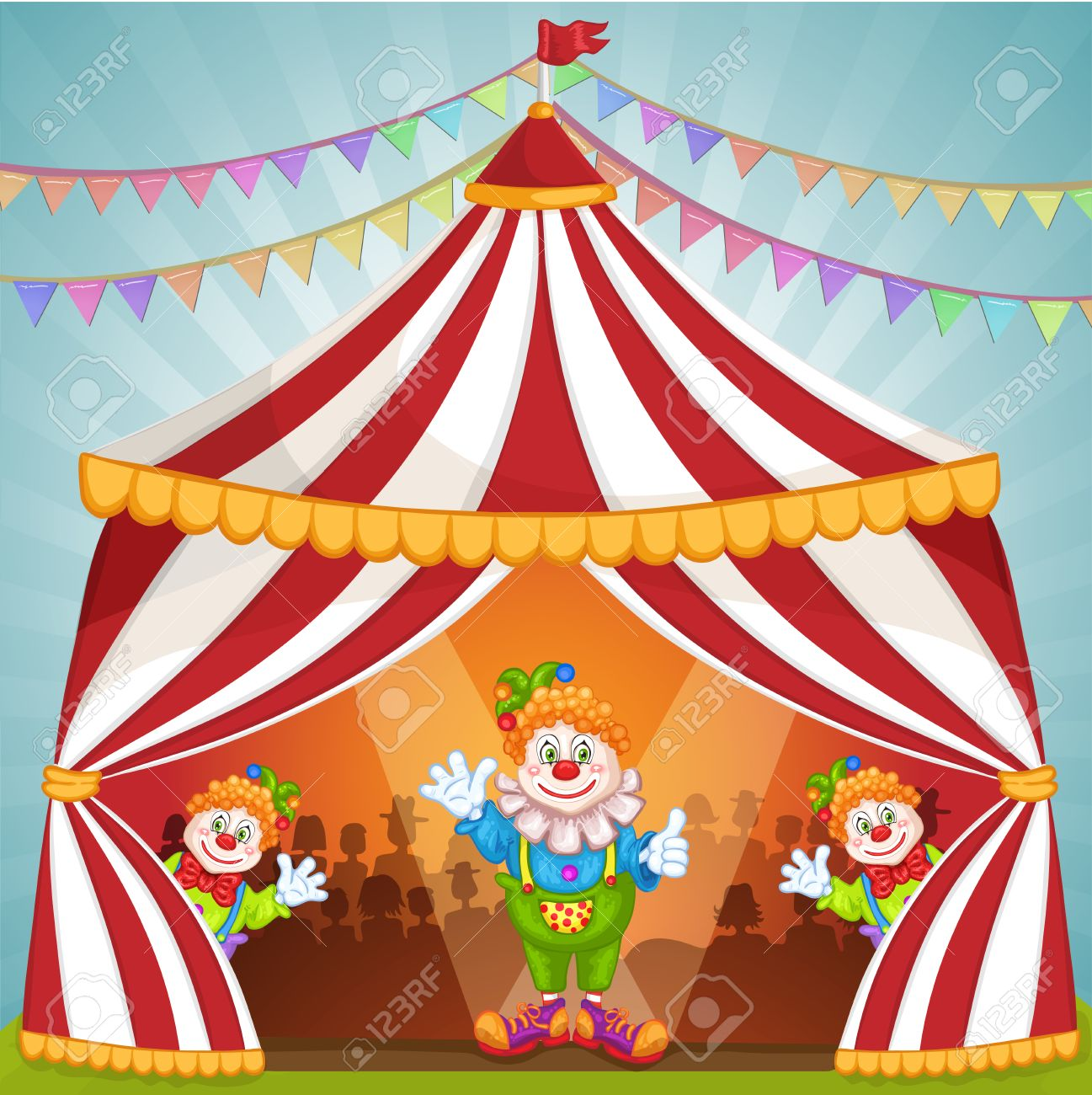 Cartoon clowns in circus tent Stock Vector - 55350229  sc 1 st  123RF Stock Photos & Cartoon Clowns In Circus Tent Royalty Free Cliparts Vectors And ...
