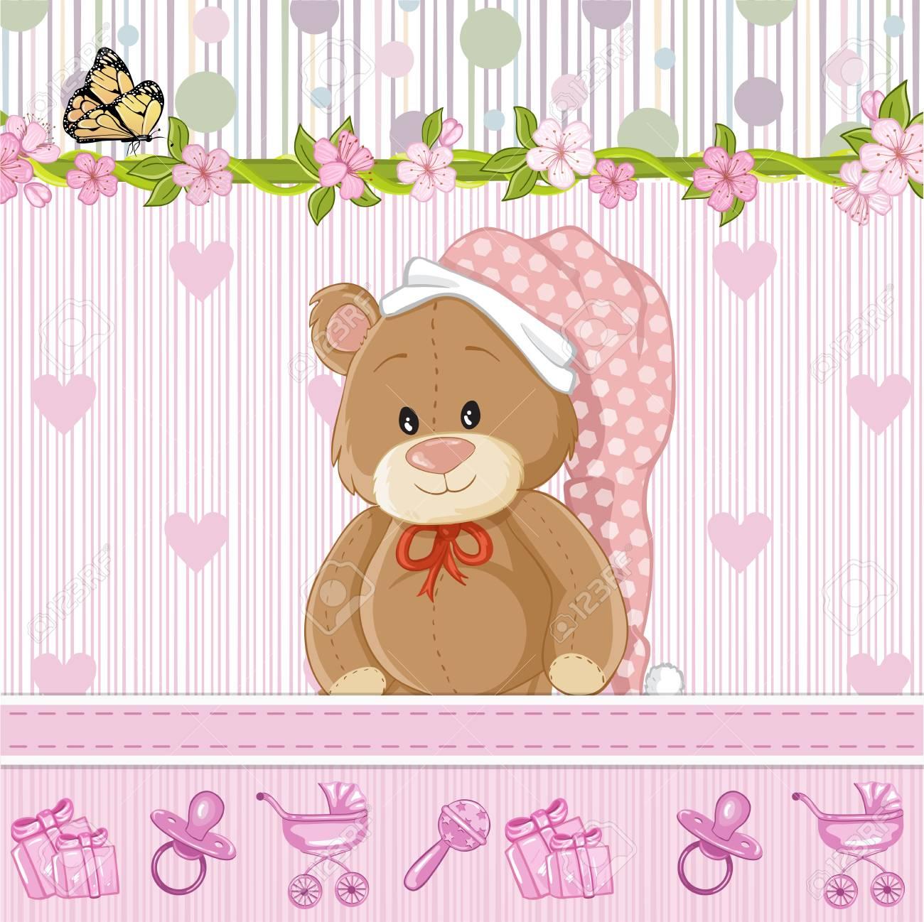 Teddy Bear For Baby Girl Baby Shower Invitation Royalty Free