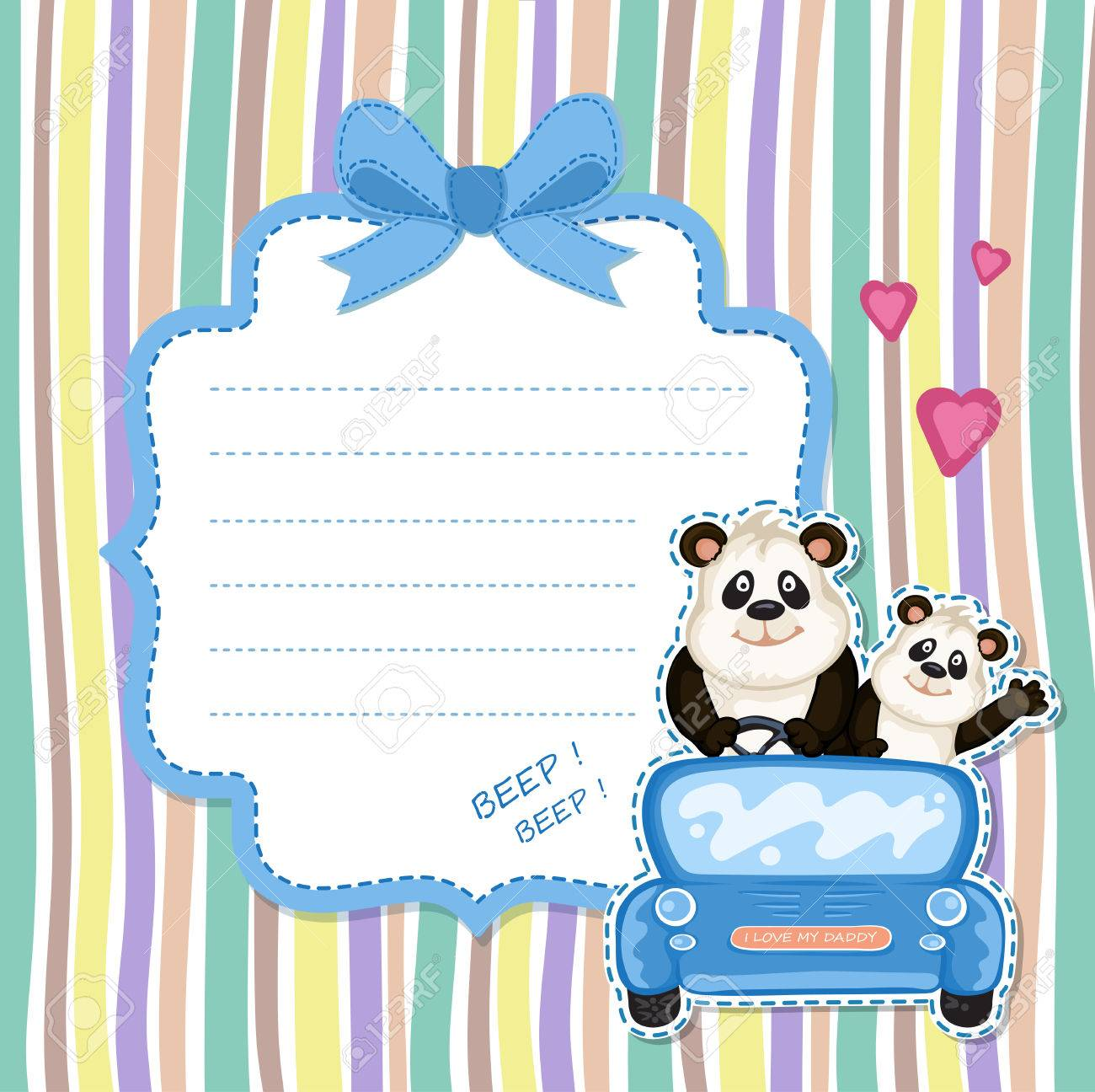 Daddy and baby panda in a blue car baby shower invitation royalty daddy and baby panda in a blue car baby shower invitation stock vector 63554854 filmwisefo