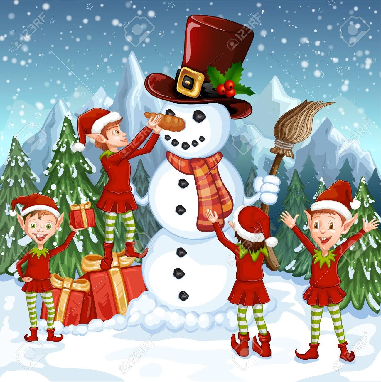 Carte De Joyeux Noel Illustration Avec Bonhomme De Neige Drole Et