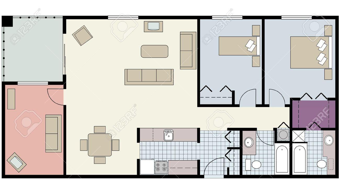 Vector of Two bedroom floor plan with den and furniture Stock Vector    23290291. Vector Of Two bedroom Floor Plan With Den And Furniture Royalty