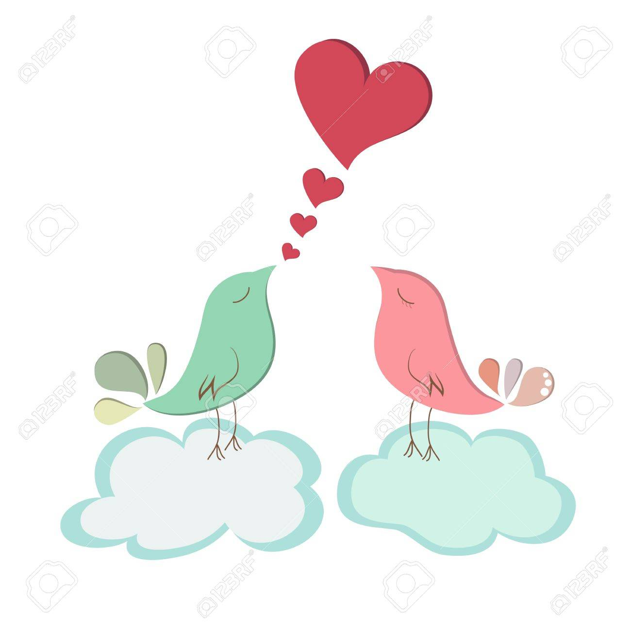 Couple bird message with blue cloud Stock Vector - 17297383