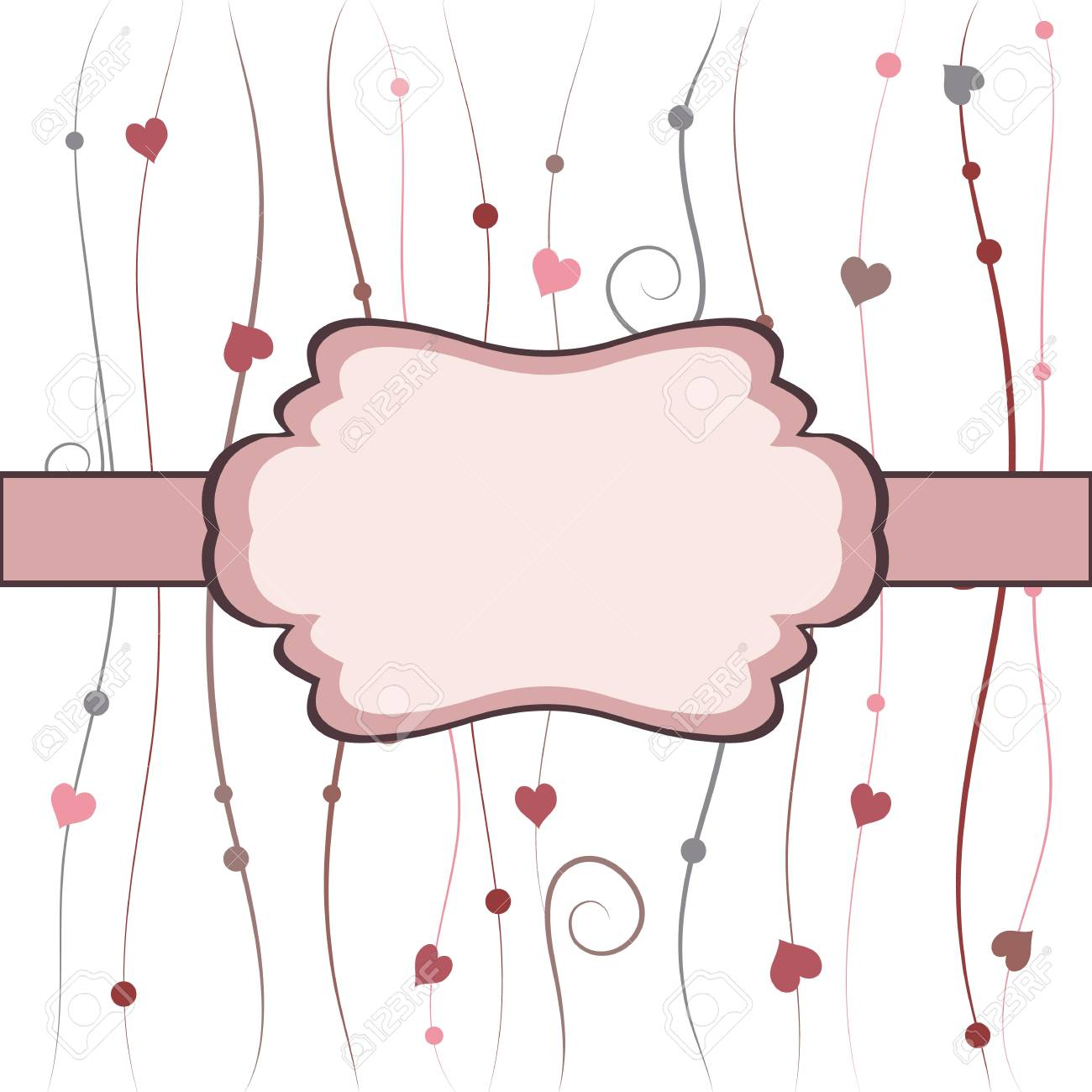 Beautiful vintage frame with hearts, bright card Stock Vector - 17297385