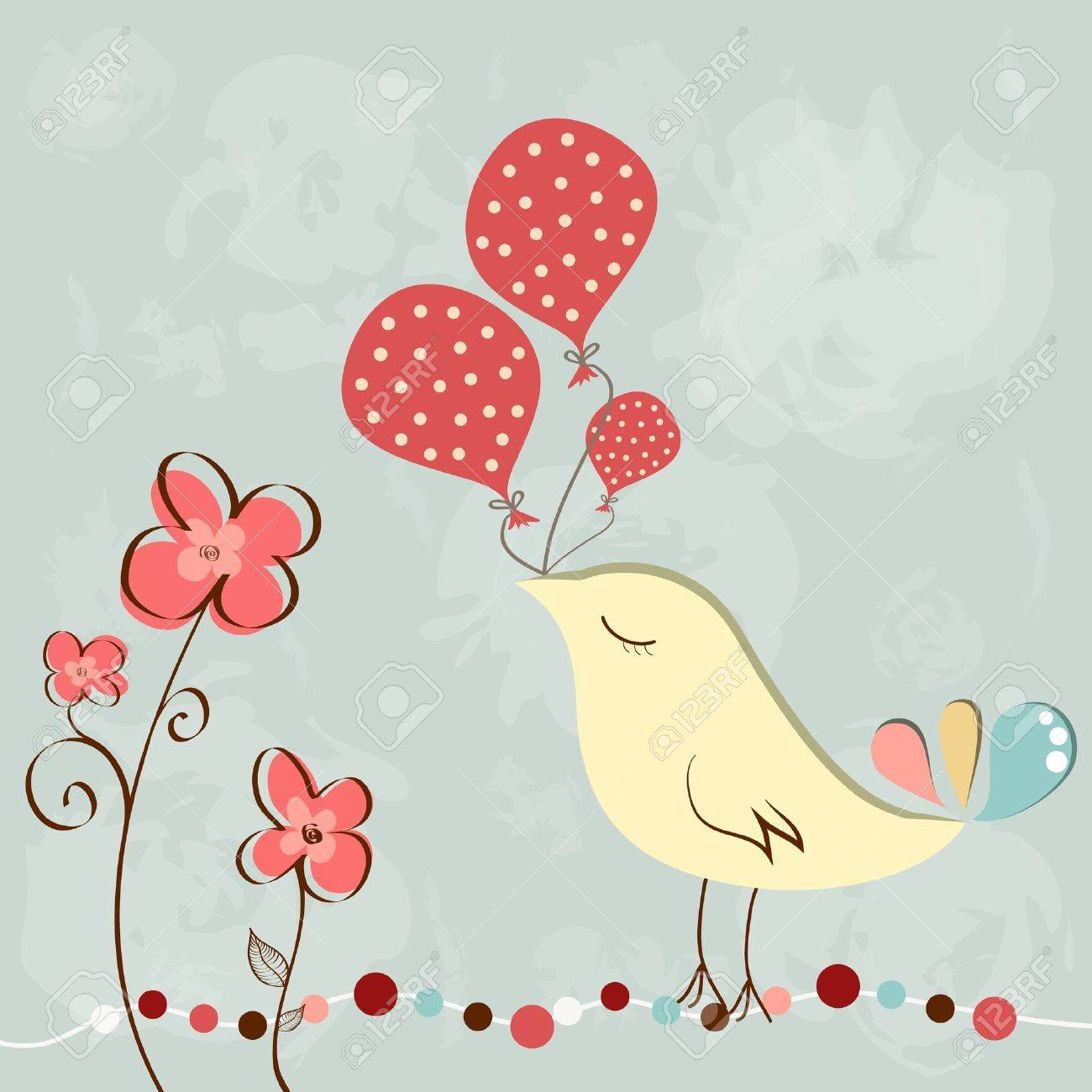 Wonderful greeting birthday card with cute bird holding balloons - 18393543