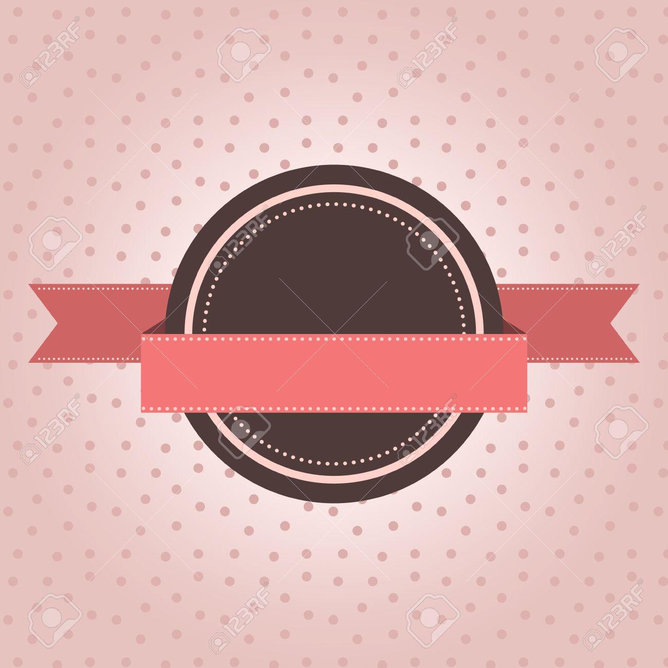 Vintage label with polka dot design on pink background - 18516309