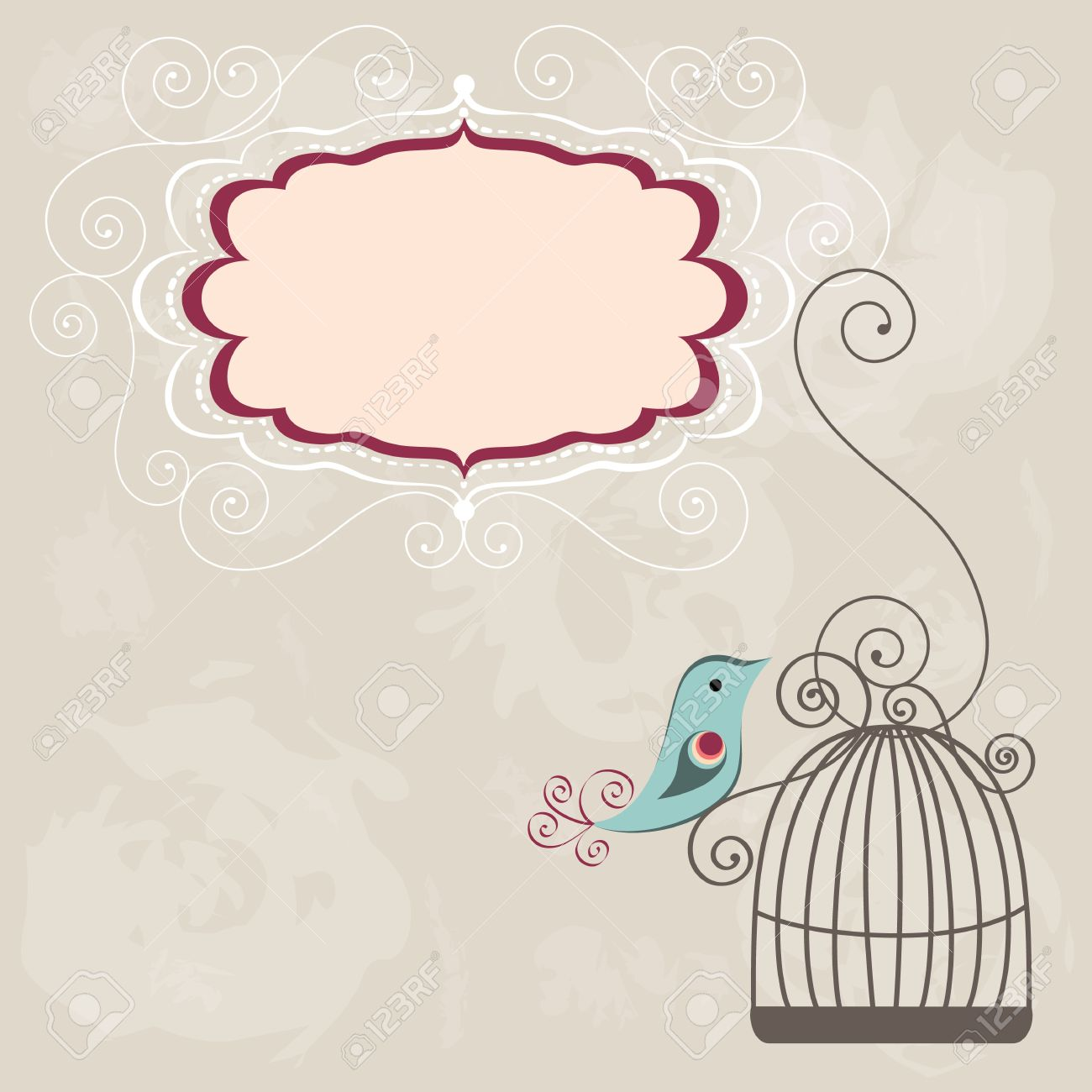 Beautiful background with frame and birdcage - 18812745