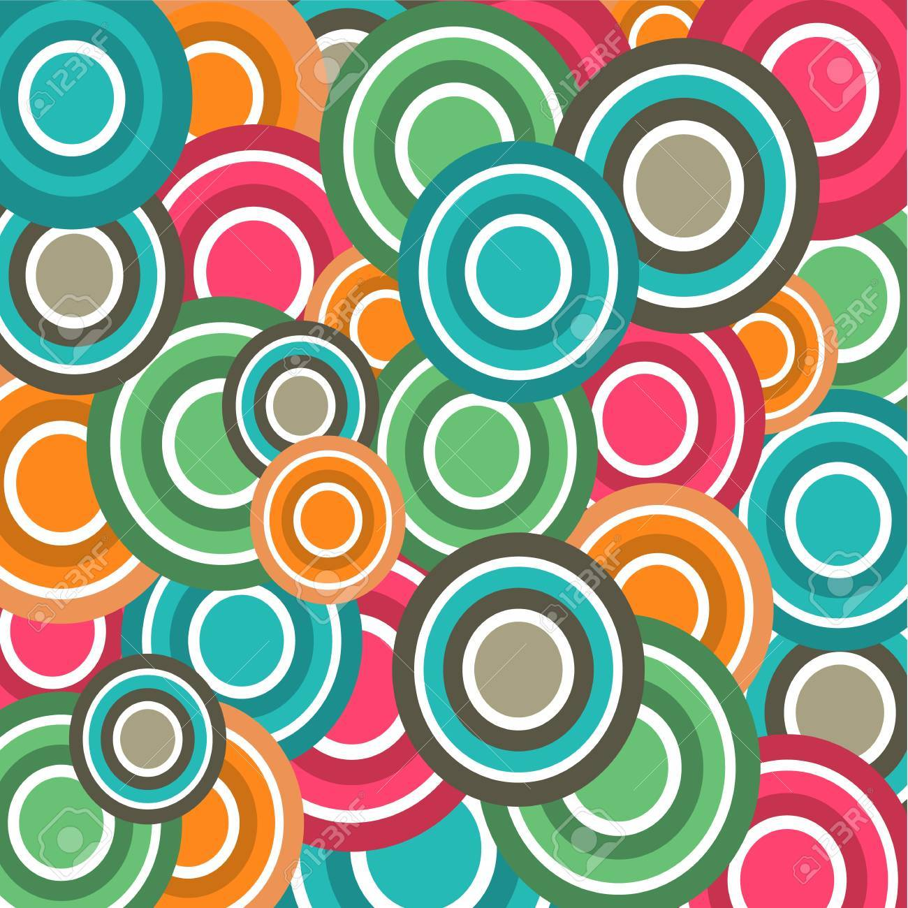 Colorful Circle Doodles Seamless Pattern  Illustration Background Stock Vector - 19601736