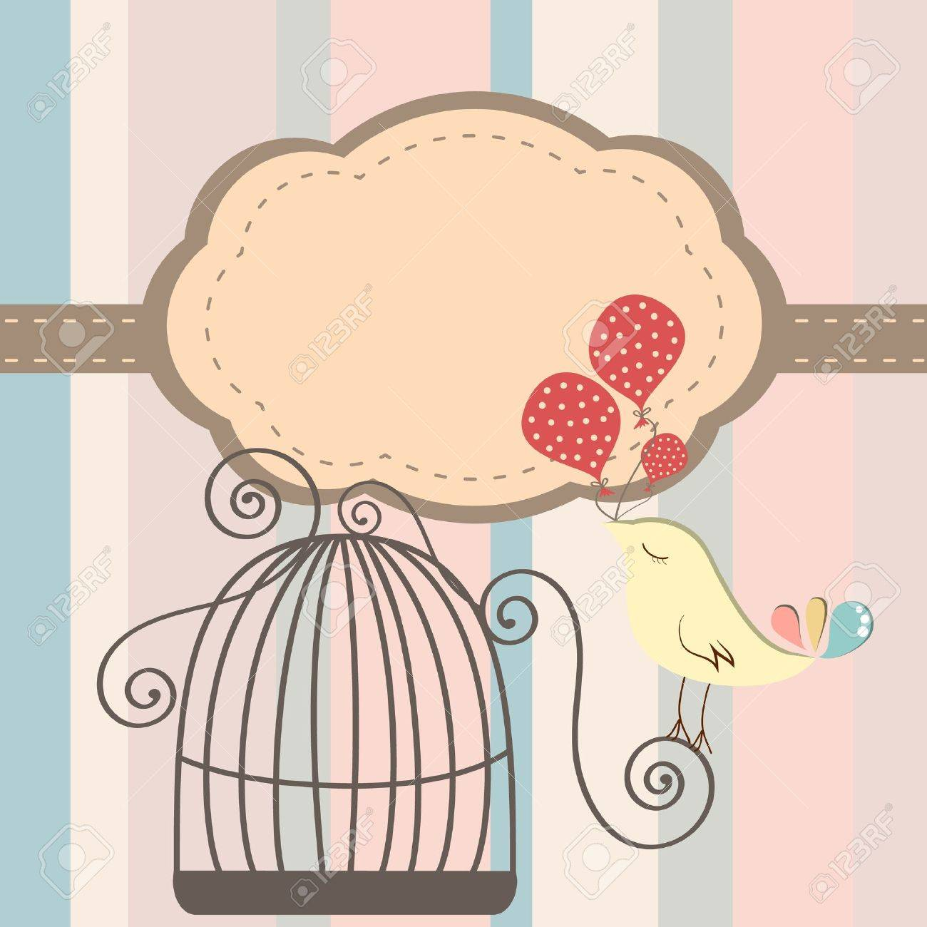 Beautiful background with frame and birdcage, vector illustration - 19601740