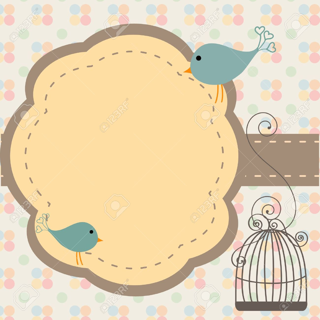 Beautiful Background With Frame And Birdcage, Illustration Royalty ...